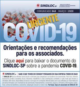 RECOMENDAÇÕES DO SINDLOC-SP SOBRE O COVID-19